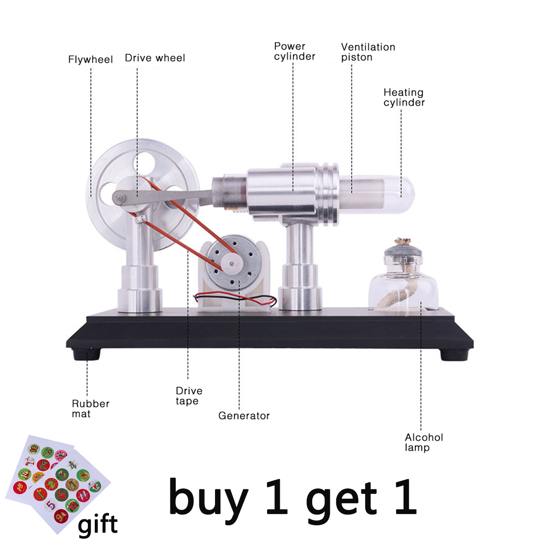 Double cylinder Micro DIY Stirling Engine External Combustion Engine School Demonstration Early Learning Education Toys For Kids-in Model Building Kits from Toys & Hobbies