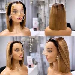 Прозрачные кружевные парики, объемная волна, 360, кружевной фронтальный парик, предварительно выщипанные с детскими волосами, бесклеевая кру...
