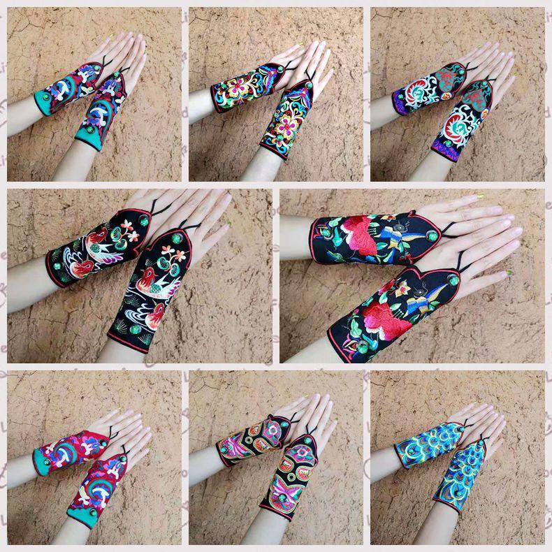Caratteristiche di stile nazionale retrò bracciali da polso femminile ricamato wristband del ricamo retro braccialetto di modo guanti - 3