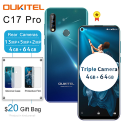 Перейти на Алиэкспресс и купить oukitel c17 pro 6.35дюйм. 19.5:9 android 9.0 mobile phone mtk6763 octa core 4g 64g dual 4g lte triple camera 13mp face id smartphone