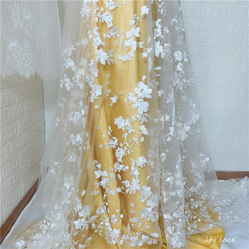 2019 Hot Sale  Embroidery Net Lace Fabric For Dress Cloth Wholesale African French Tulle Lace For Wedding Garment Accessories