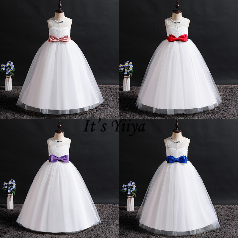 It's YiiYa   Flower     Girl     Dresses   4 Colors Sleeveless Fashion O-Neck Lace Bow   Dresses     Girls   Pageant Kids Party Elegant   Dresses   1021