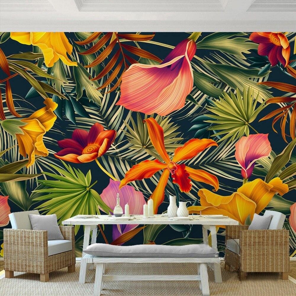 Custom-Wall-Mural-Tropical-Rainforest-Plant-Flowers-Banana-Leaves-Backdrop-Painted-Living-Room-Bedroom-Large-Mural (1)