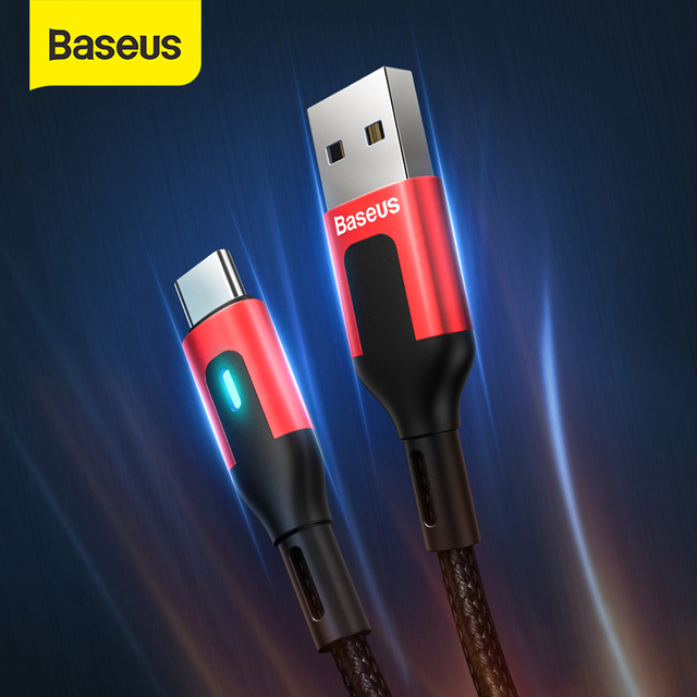 Baseus USB Type C Cable for Redmi Note 9 9s 8 Pro Quick Charge 3.0 Type C Cable LED for Xiaomi 10 Samsung S20 USB C Charger Cord