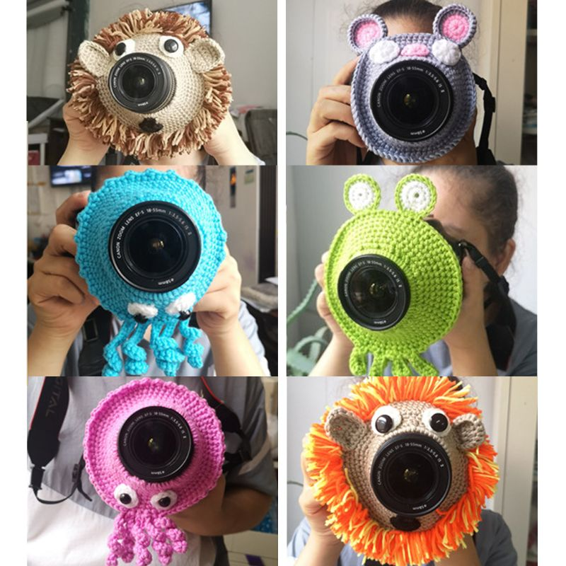 Animal Camera Buddies Lens Accessory For Child/Kid/Pet Photography Knitted Lion Octopus Teaser Toy Lens Posing Photo Props Y4QA