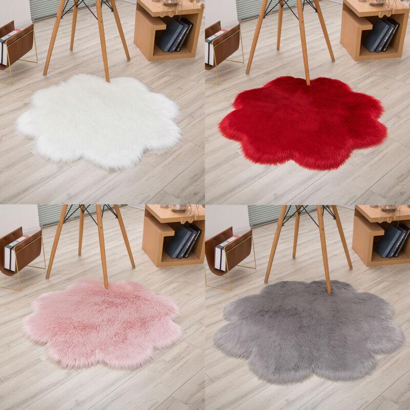 Flower Shape Fluffy Rug Anti-Slip Shaggy Dining Mat Living Room Bedroom Super Soft Carpet Floor Comfortable Area Rug Home Mat