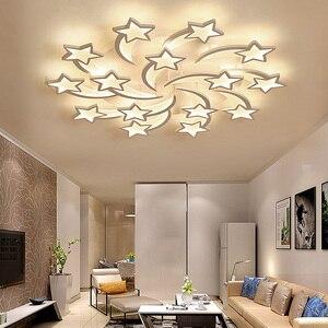 Image 3 - ثريا حديثة حديثة بإضاءة led على طراز الآرت ديكو مصباح داخلي نجمة بيضاء لغرفة المعيشة وغرفة الطعام غرفة نوم للأطفال غرفة المطبخ عن بُعد