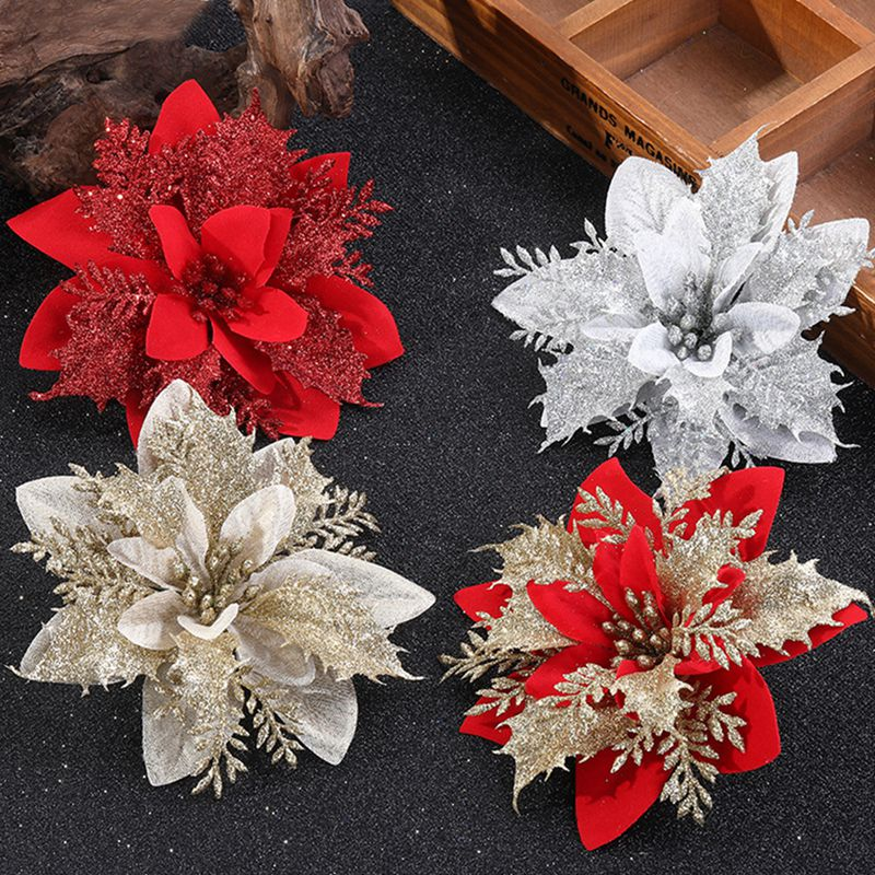 5/10pcs Artificial Christmas Flowers Glitter Fake Flowers Merry Christmas Tree Decorations Xmas Ornaments New Year Gift natal