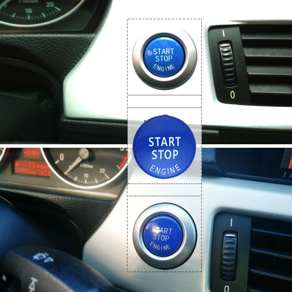 START Stop Engine Button Replace Cove for BMW X1 X5 E70 X6 E71 Z4 E89 3 5 Series E90 E91 E60 Key Decor Ring Trim Cap  Switch Kit 5