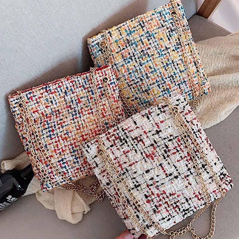New Women Girls Fashion All-match Nylon Zipper Pocket Handbag Big-capacity Chain Shoulder Crossbody Bucket Bag