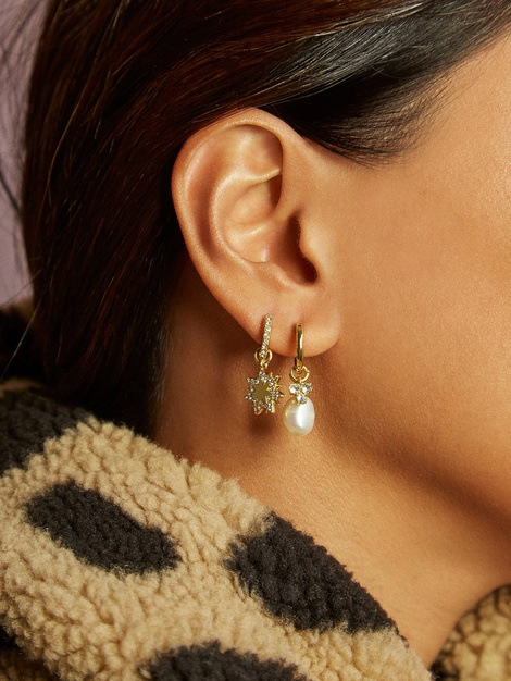 Joolim Jewelry Wholesale High End Gold Pearl Crystal Convertible Hoop Earring Dangle Earrings Set Bulk Earring Wholesale