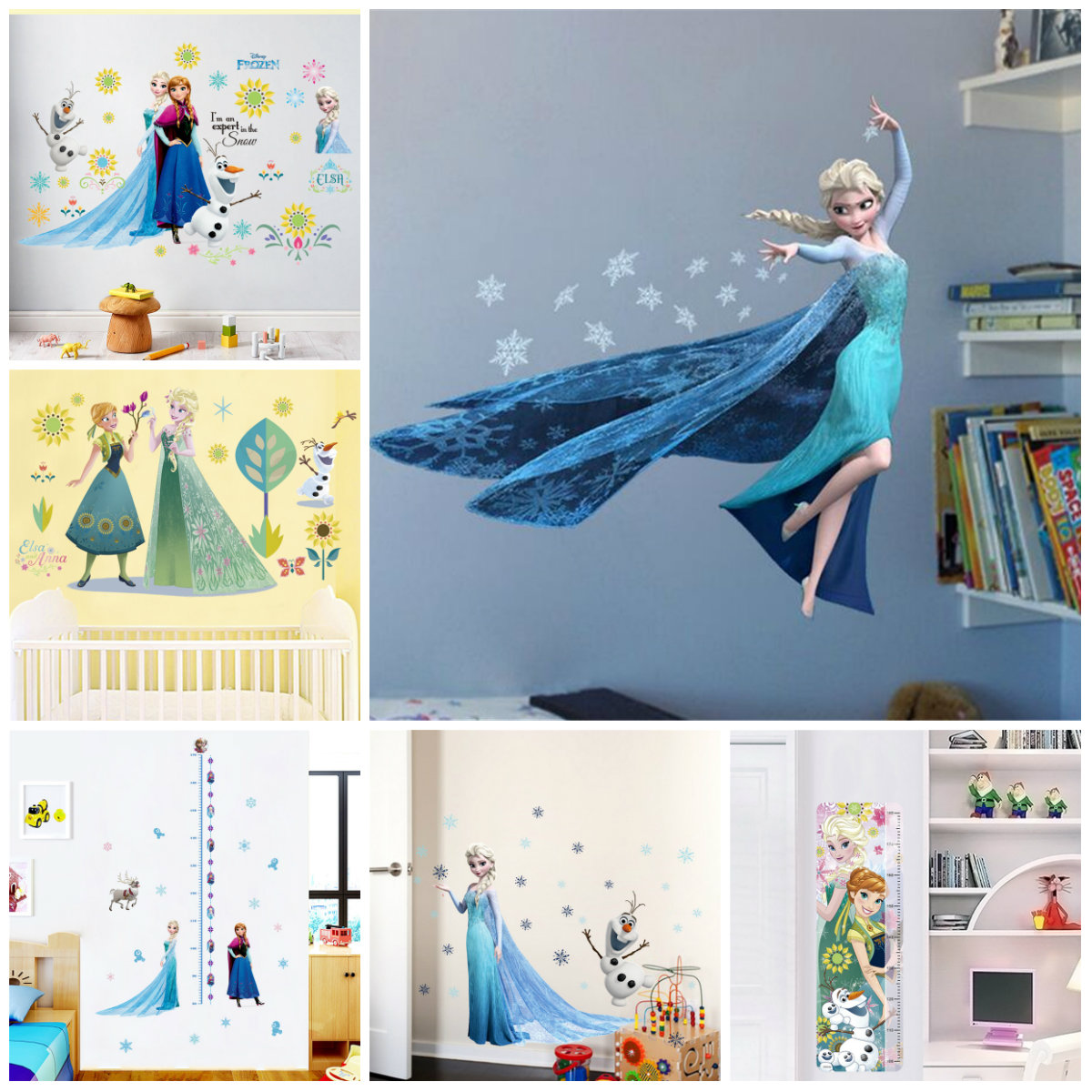 Cartoon Diy Elsa Anna Frozen Princess Wall Stickers For Girls Room Home Decoration Anime Mural Art Movie Poster Kids Wall Decal|Wall Stickers|   - AliExpress
