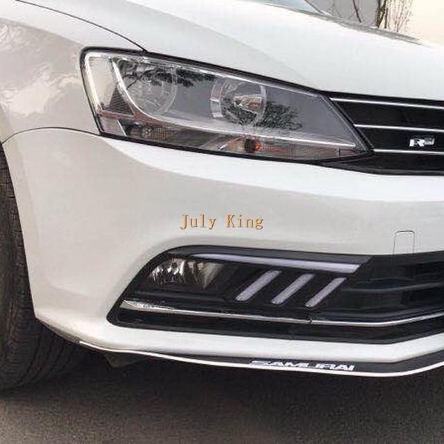 July King LED feux de jour étui pour Volkswagen Jetta MK7 Sagitar 2016-18, LED DRL + Streamer jaune clignotants