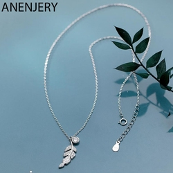 ANENJERY 925 Sterling Silver Delicate Tree Leaf Pendant Necklace Cubic Zircon Clavicle Chain Necklace For Women Girls S-N553