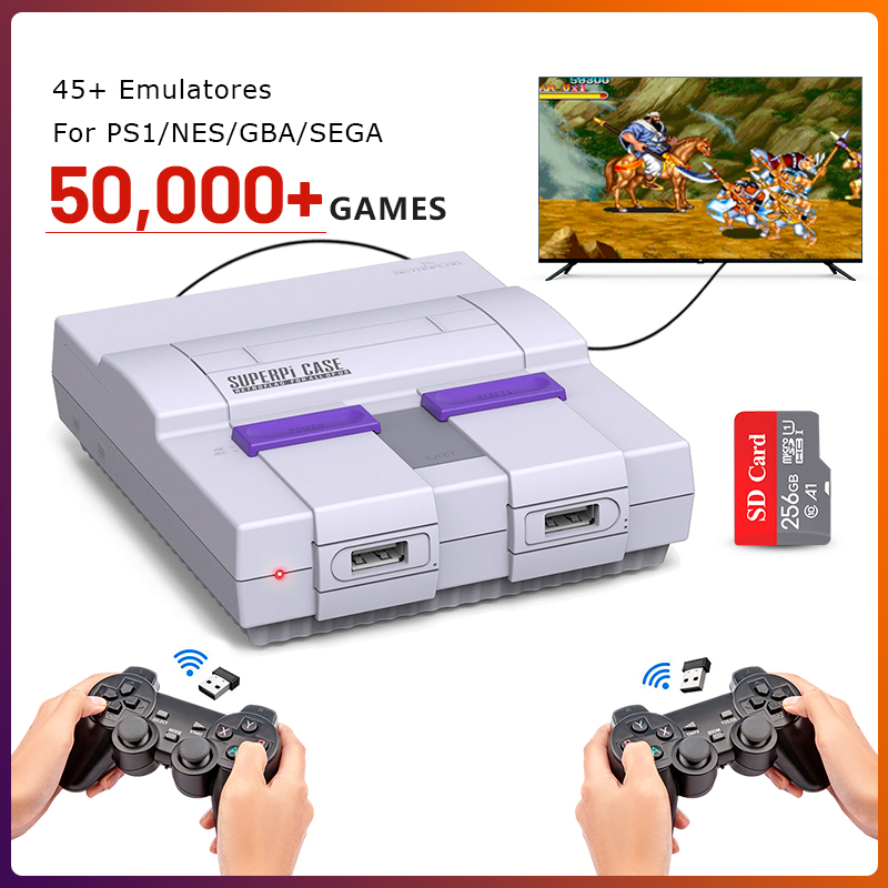 Classic TV Video Game Console for PS1/NES/GBA/SEGA 50000+ Games Raspberry Pi Retro Gaming Console with Dual Wireless Controllers