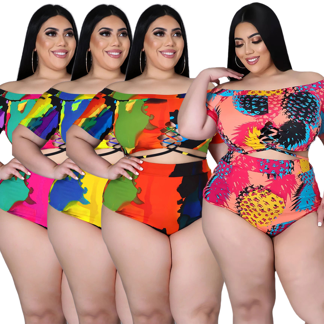 XL-5XL Plus Size two piece set Swimsuit summer 2021 Sexy printing Bandage top and shorts outfits women Wholesale Dropshipping