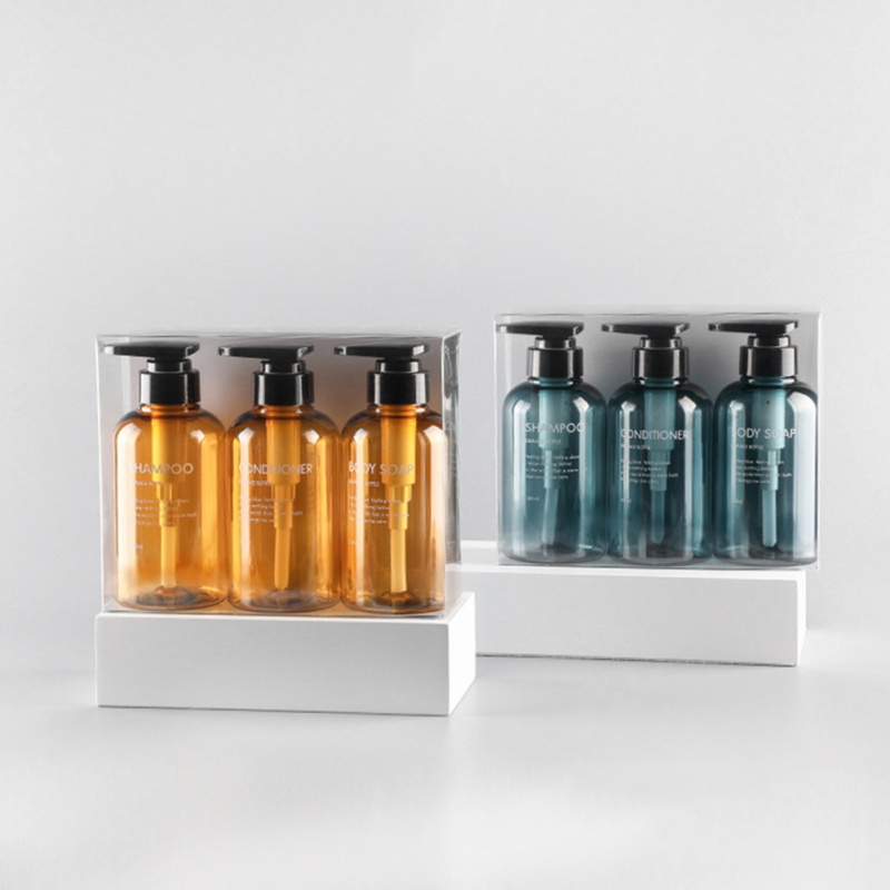 3Pcs 300/500ml Soap Dispenser Bottle Set Bathroom Shampoo Bottle High-capacity Press Type Lotion Body Soap Empty Bottle