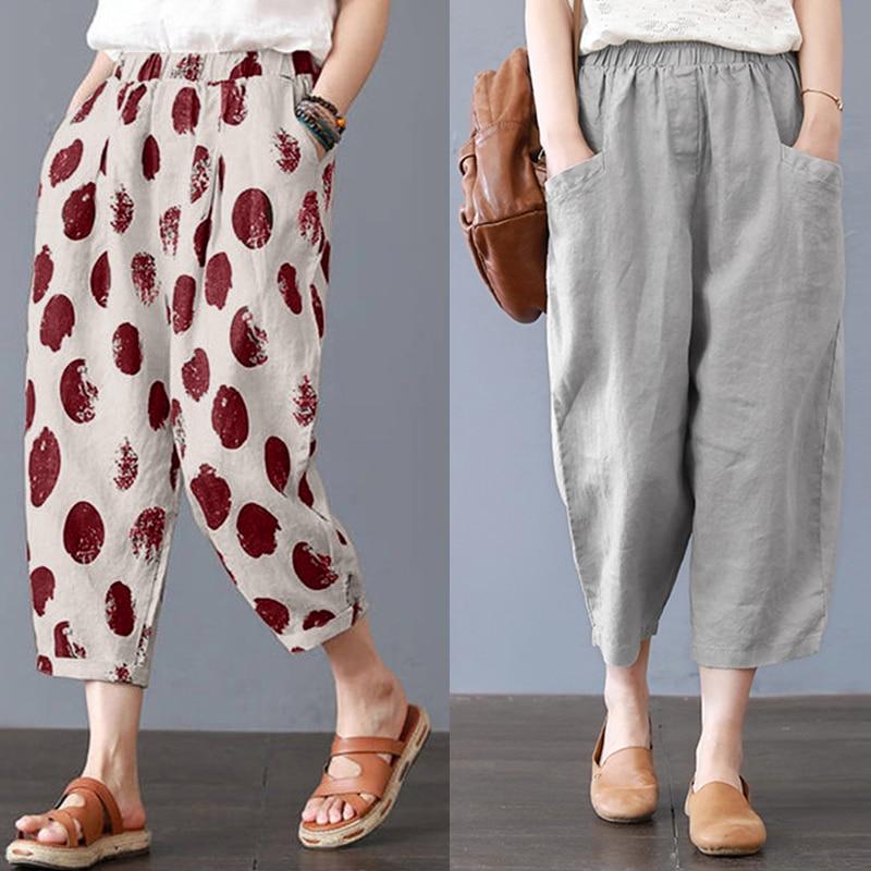 Plus Size Elegant Women Cotton Linen Harem Pants ZANZEA Elastic Waist Work Trouser With Pockets Solid Casual Turnip Pantalon 5XL