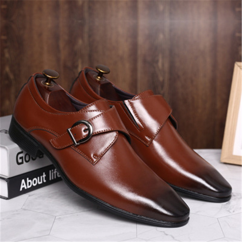 Image 5 - Size 45 46 47 48 Men Business Dress Shoes Retro Patent Leather Oxford Shoes For Male Stylish Elegant Metal Buckle Wedding ShoesFormal Shoes   -