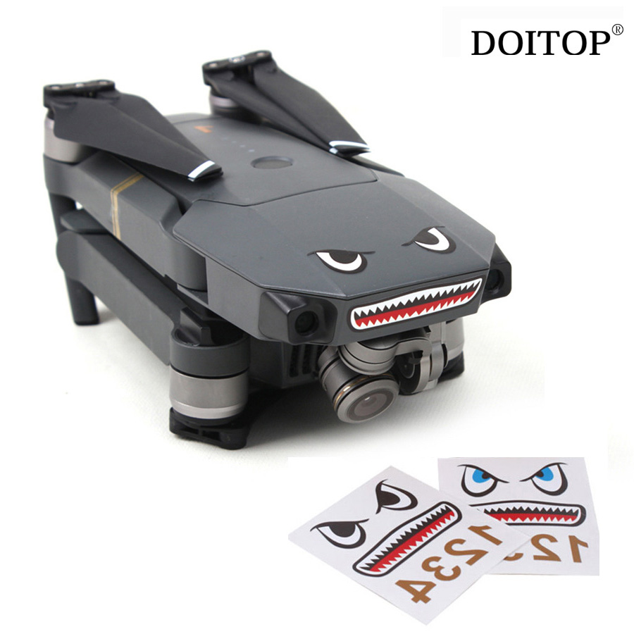 DOITOP Drone Stickers 2Sets Camera Drone Body Skin Cool Shark Face 3M Decals With Battery Number Sticker For DJI MAVIC PRO/Spark