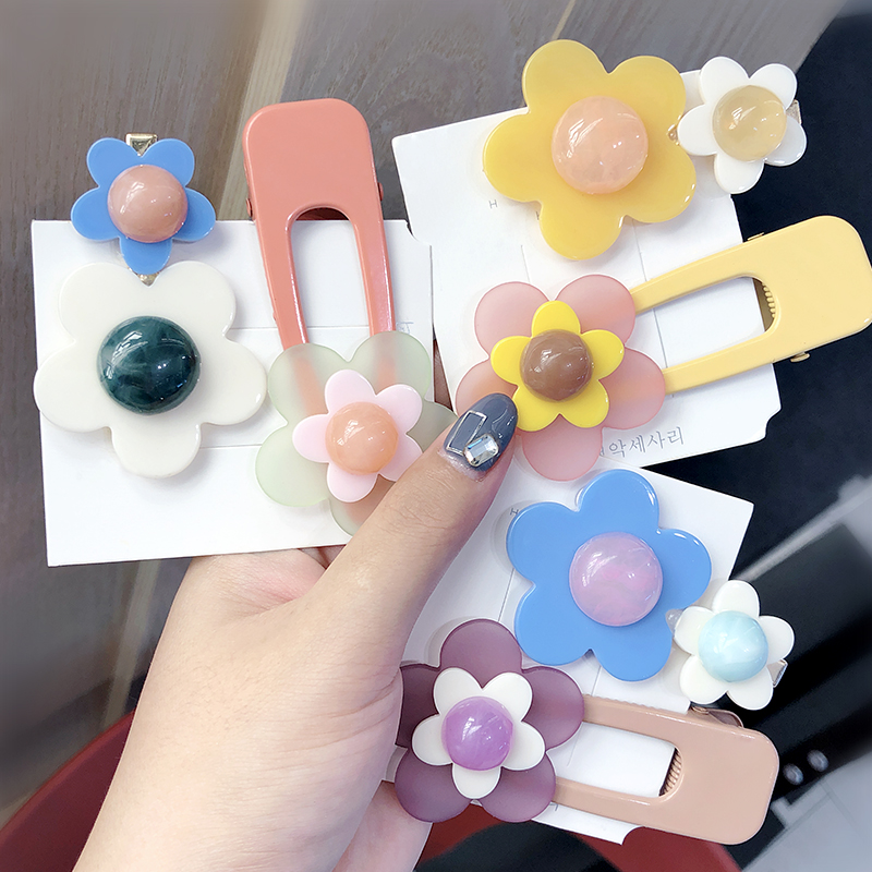 2Pcs/Set New Women Girls Cute Colorful Acrylic Flower Alloy Hairpins Sweet Headband Hair Clips Barrettes Lovely Hair Accessories