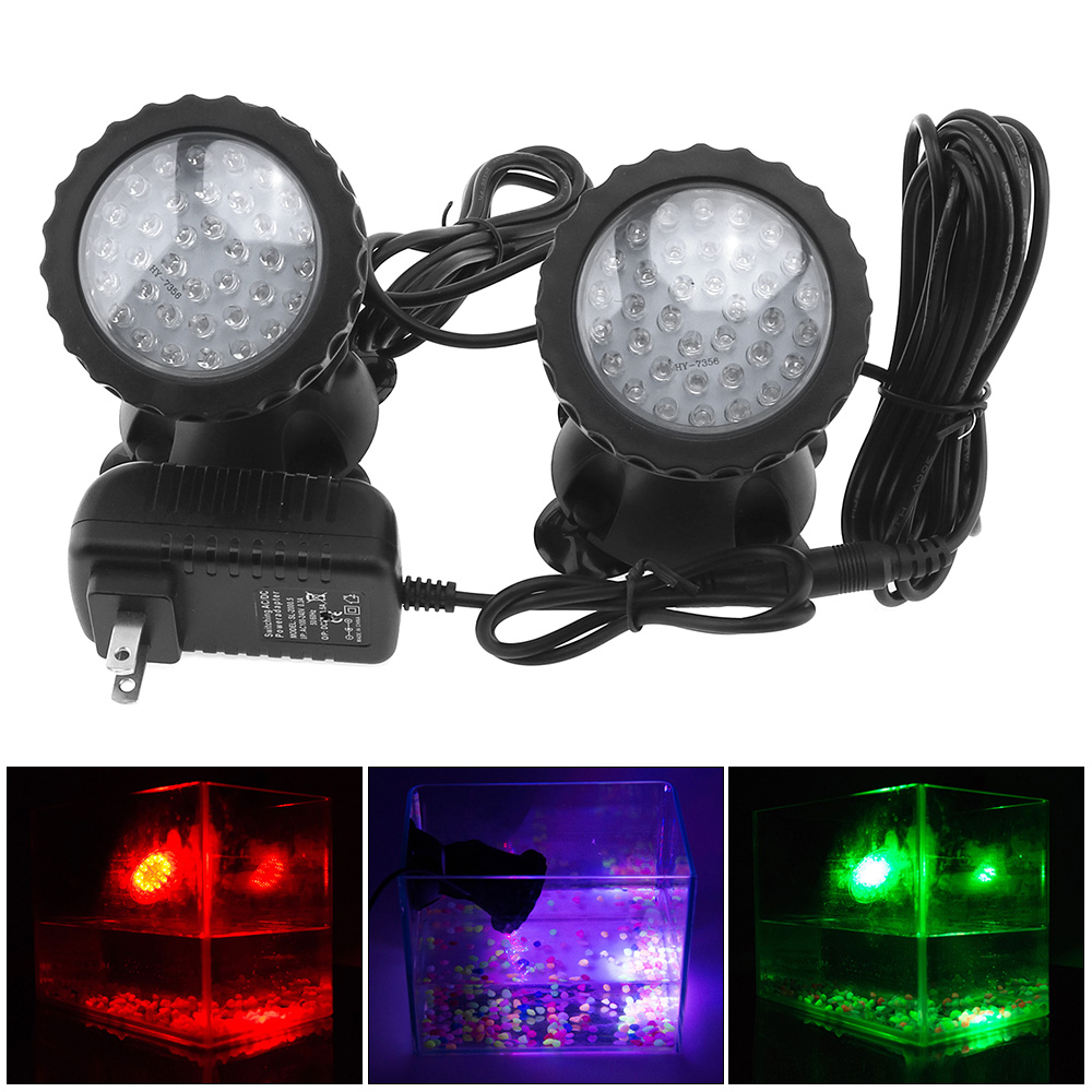 2pcs/lot <font><b>12V</b></font> 36 <font><b>LED</b></font> <font><b>Spotlight</b></font> Lamp 7 Colors Changing Waterproof for <font><b>Garden</b></font> Fountain Fish Tank Pool Pond image