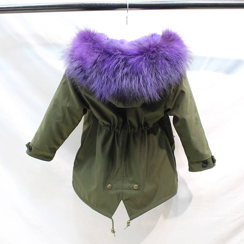 Genuine Real Fur Rex Rabbit Fur Jackets Parkas With Big Raccoon Fur Hooded Collar For Baby Girl Clothes Kids Boys Winter Jacket