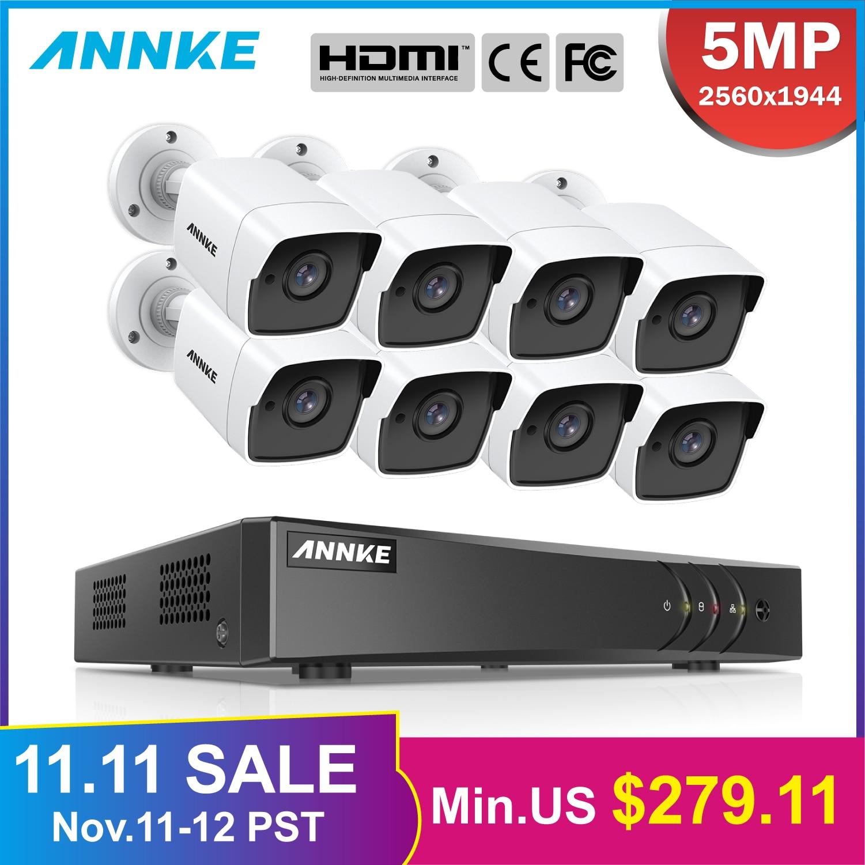 Annke 8ch 5mp ultra hd cctv sistema de câmera 5in1 h.265 + dvr com 8 pces 5mp tvi à prova de intempéries branco sistema vigilância segurança kit