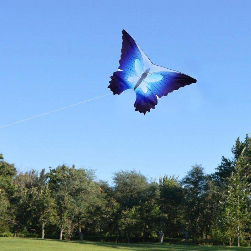 120cm Blue Butterfly Kite S 30m Nylon Wire Handle Kite Blue Butterfly Kite Outdoor Sports Toys
