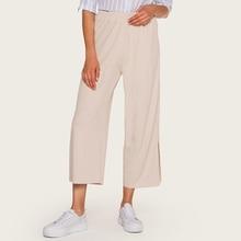 Wasteheart Autumn Summer Women Fashion Blue Pink Long Loose Pants Casual High Waist Wide Leg Female Mid Calf