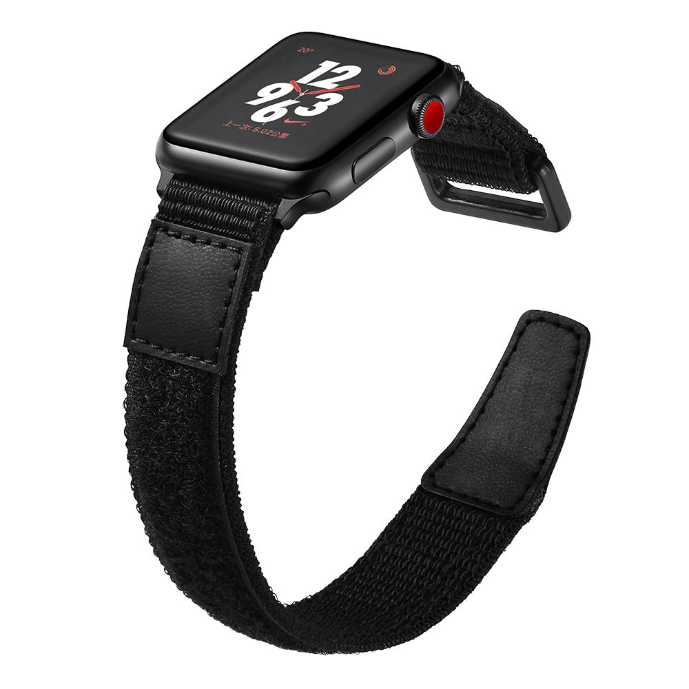 Nylon Watch Strap For Apple Watch 44mm 40mm Black Nylon Leather Watch Bracelet For Apple Watch 42mm 38mm Watch Band For IWatch