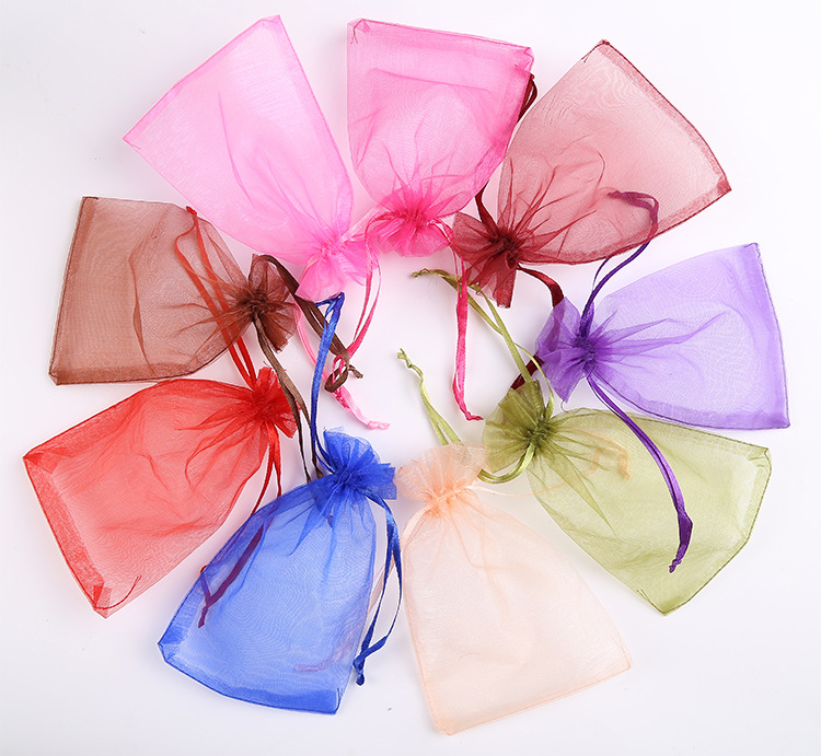 10/20/50/100pcs Organza Pouches Bags 7x9cm Wedding Parry Gift Candy Drawstring Bag For Jewelry Earring Display Packaging