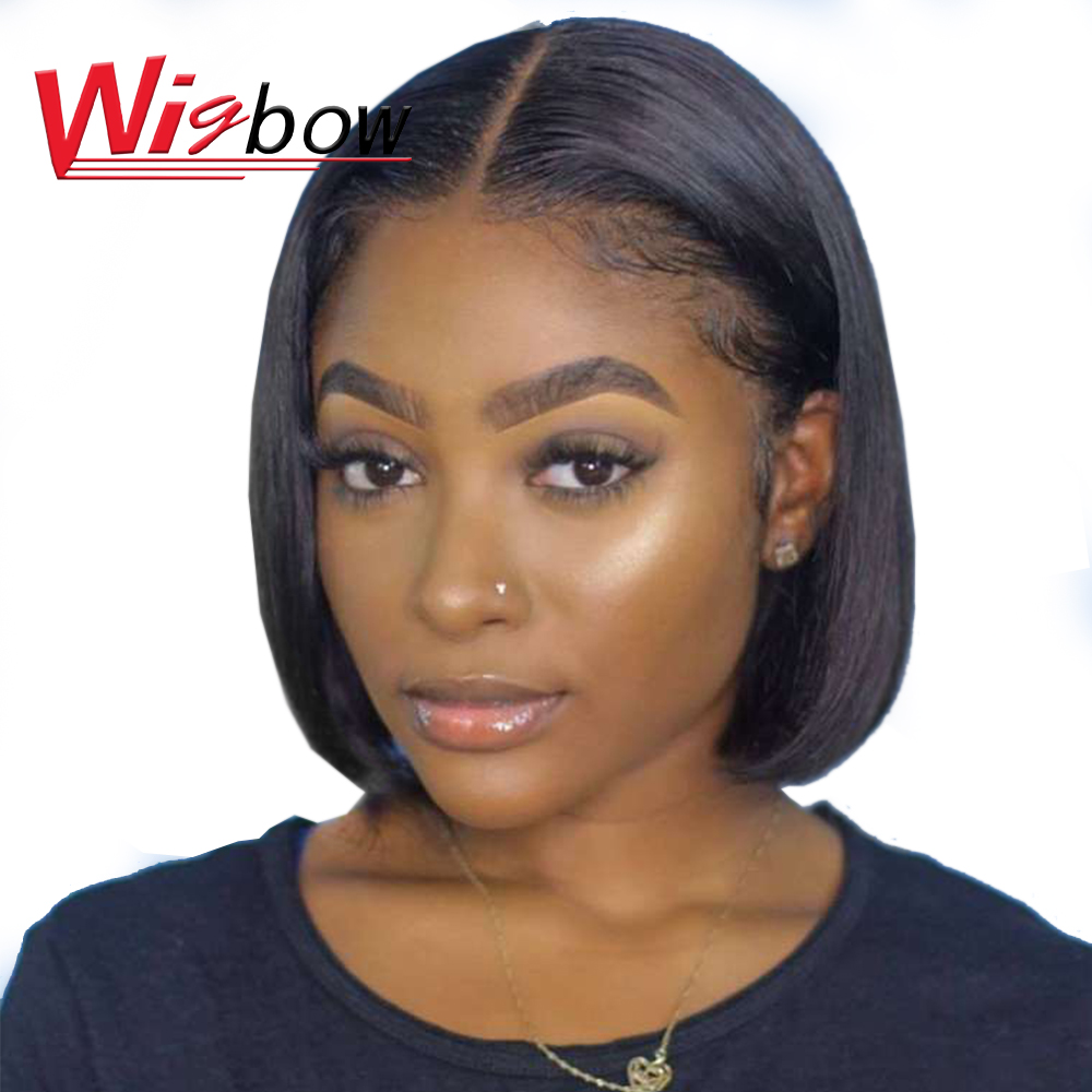 Cheap Short Bob Wig Brazilian Human Hair Wigs For Black Women Straight Bob Wig With L Part Lace Hair Lace Wig With Free Shipping