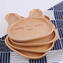 Solid Wood Tray Cartoon Children Grid Plate Log Cute Rabbit Snack Breakfast Wooden Food Storage for Kid