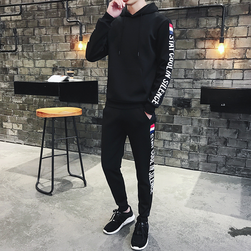 The Fashion Social Square 2020 Of The Hoodie Men's Hooded Pullover Leisure Suit-Style Set Sports Men's Body Sports Set