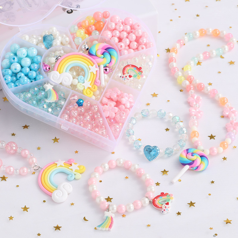 DIY Handmade Beaded Toy with Accessory Set Children Creative Heart-shaped Girl Jewelry Making Toys Educational Toy Children Gift