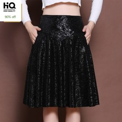 Plus Size 5XL High Waist Female Sheepskin Leather Skirts Streetwear Slim Print OL A-Line Knee-Length Jupe Elegant Comfort Faldas