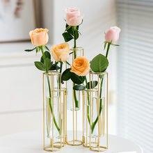 Metalowa półka wazony nowoczesny szklany skandynawska minimalistyczna ozdoby wazony artystyczne kompozycje kwiatowe Dekoracje Do biurka Domu DecorDE50HP