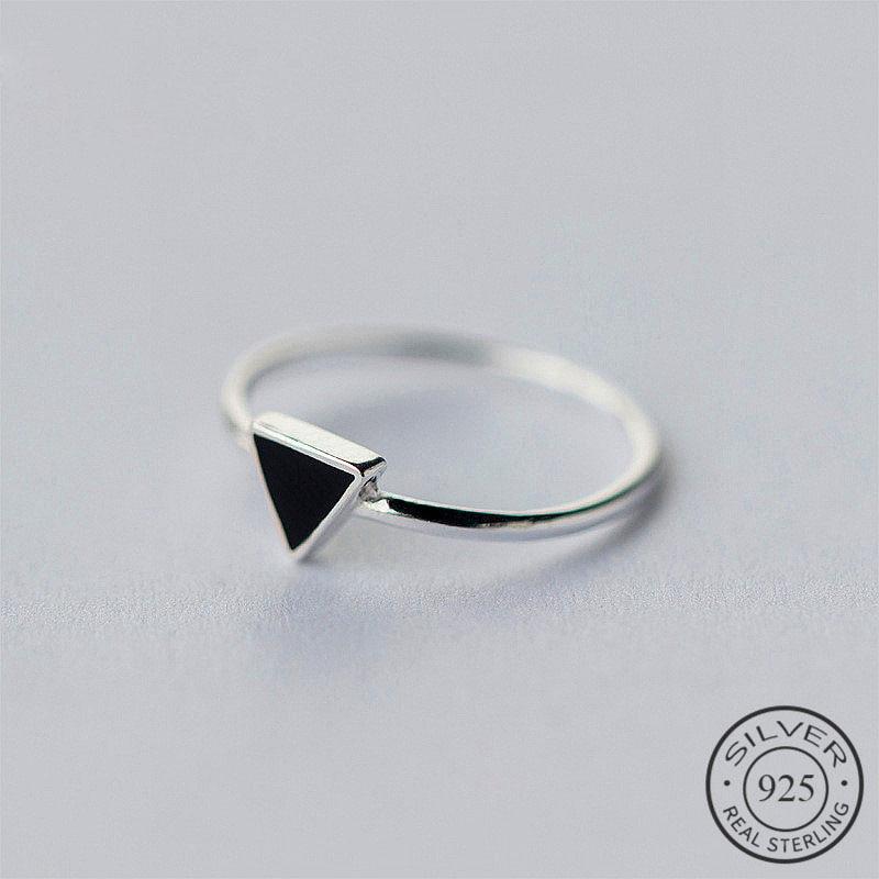 925 Sterling Silver Geometric Black Enamel Triangle OL Adjustable Ring Minimalist Fine Jewelry For Women Party Gift
