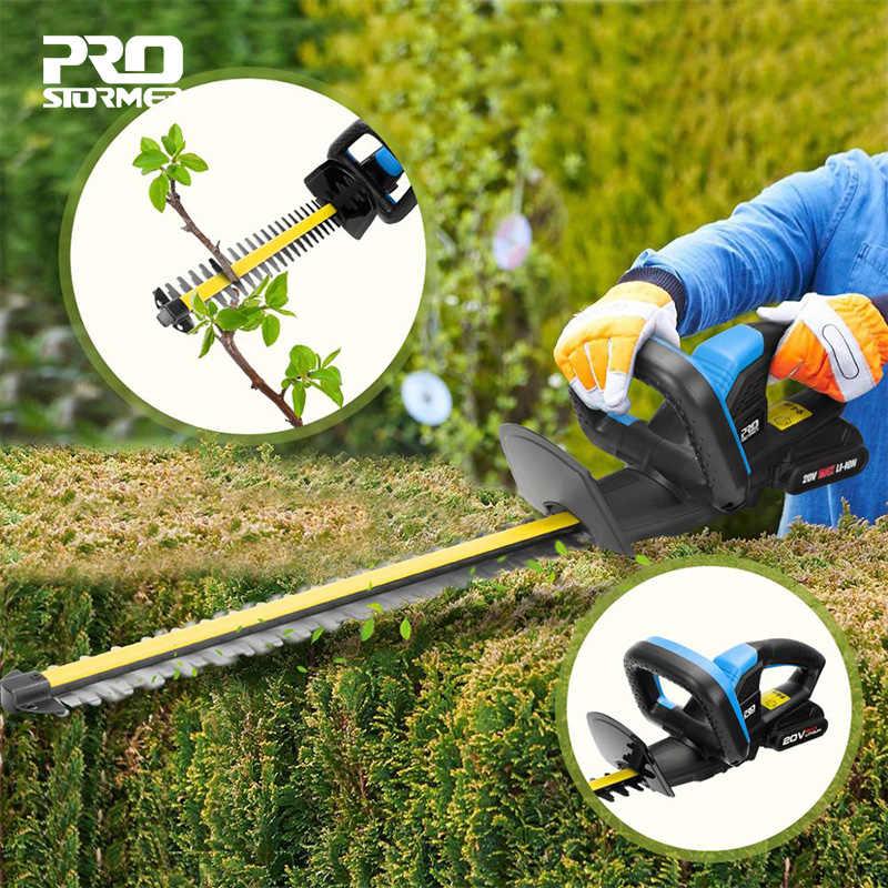 Электрический триммер для хеджирования, секаторные ножницы, 20V беспроводные, 2000 мА/ч, перезаряжаемый, для прополки, для хеджирования, бытовая косилка, садовые инструменты от PROSTORMER