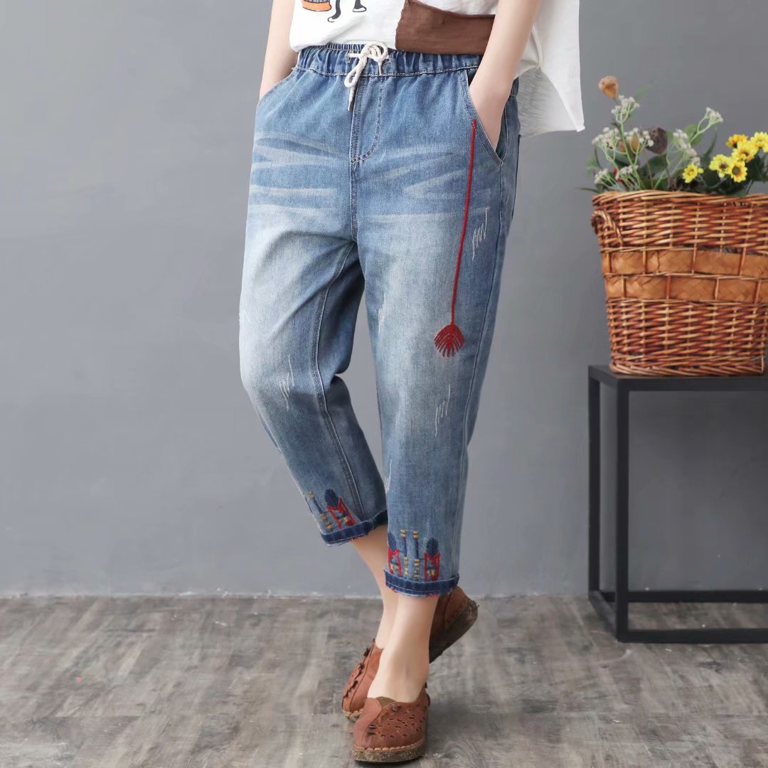 2019 Spring And Summer New Style Retro Literature And Art Embroidered Lace-up Loose-Fit Washing Capri Harem Jeans Women's