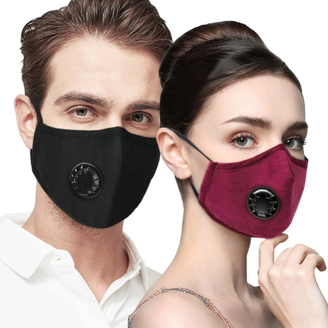 Unisex Anti haze Mouth Masks Anti PM2.5 Respirator Dustproof Cotton Mouth Face Mask with 2pcs Filters Valve Dust Safety Mask
