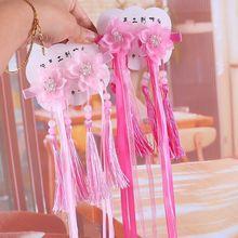 1pair Chinese Traditional Handmade Crystal Flower Tassel Hair RibbonHair Pins Festival Clip Kids Accessories Gift