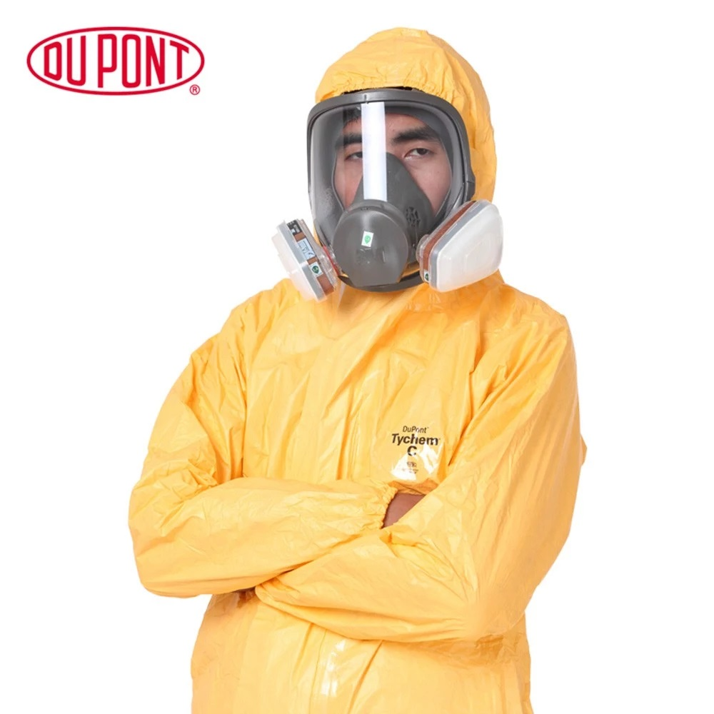 DU PONT Pro Safety Clothing Protective Coverall Chemicals Protective Clothing Hooded Sulfuric Acid Alkali Safety Coveralls