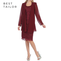 2019 Mother of the Bride Dresses for Weddings Two Pieces Knee Length Short Burgundy Mother of the Groom Gown Vestido de Madrinha