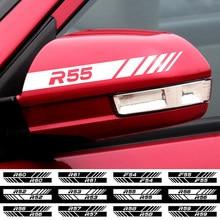 Carro 2 pçs preto/branco espelho retrovisor lateral decalque tarja esporte emblema adesivo para bmw mini coopers r53 r55 r56 r57 r58 r59 f55 f56