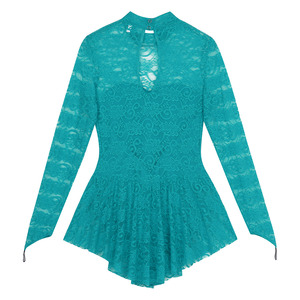 Image 4 - Women Adult Long Sleeve Lace Ballet Gymnastics Leotard Figure Ice Skating Dress Female Stage Performance Competition Costumes
