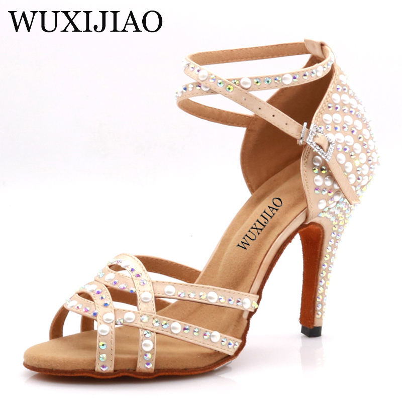 WUXIJIAOLatin Dance Shoes Tango Lady Skin Color And Rhinestoneswoman Latin Dance Shoes Latin Gloss Shoes