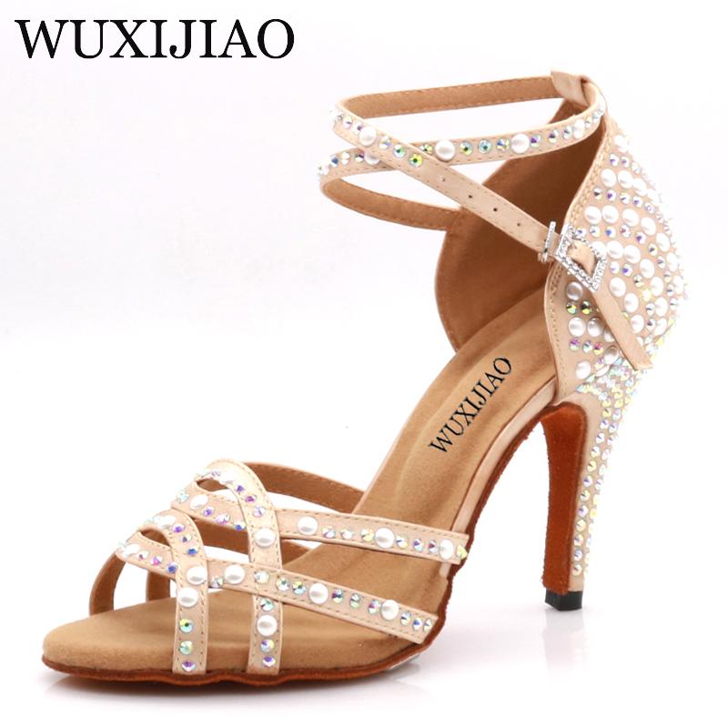 WUXIJIAOLatin dance shoes Tango lady skin color and rhinestoneswoman Latin dance shoes Latin gloss shoes