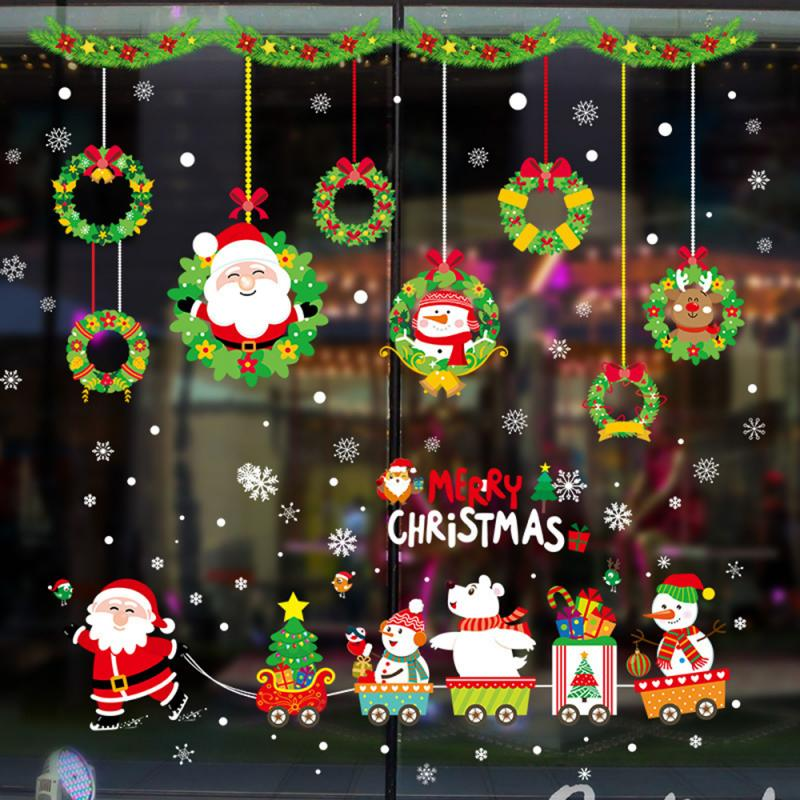 Wall Stickers Christmas Snowflakes Town Window Clings for Bedroom Mural Shop Store Showcase Windows Glasses Decor Christmas Shop Window Decoration